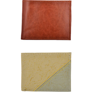 Exotique Men's  Brown & Beige Casual Wallet Combo (Synthetic leather/Rexine)