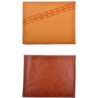 Exotique Men's Tan Casual Wallet Combo (Synthetic leather/Rexine)