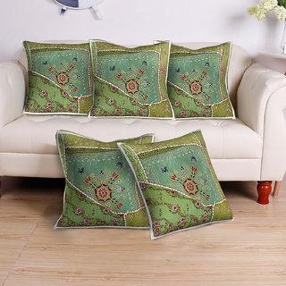 Vaibhav International Multicolor Cotton Kambadiya Cusion Cover Set Of 5 (Dimensions (L x W): 40 cm x 40 cm)