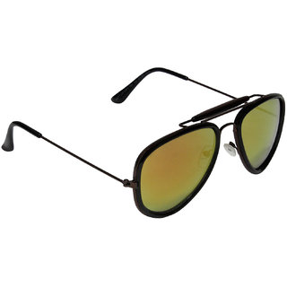 Aligatorr Stylish Double Bar Yellow Mercury Aviator Sunglass