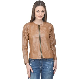 Raabta Fashion Beige Biker Full Faux Leather Jacket
