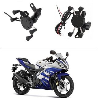 AutoStark Spider Bike MultiFunctional Mobile Holder with USB Charger Mototrcycle Mobile Holder Bracket For Yamaha R15 s