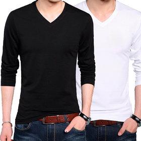 Full Sleeve Men's Black and White V-Neck Combo T-Shirt
