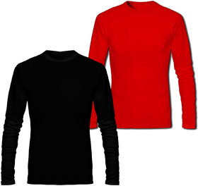 Full Sleeve Men's Black and Red Round Neck Combo T-Shirt