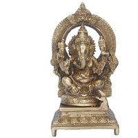 Lord Ganesha Sitting Statue On A Throne In Antique Finish By Aakrati