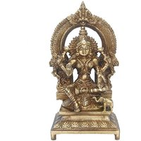 Goddess Lakshmi Temple Statue In Antique Finish By Aakrati