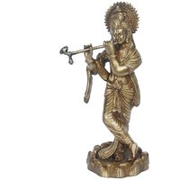 Lord Krishna Brassware Statue In Antique Finish By Aakrati