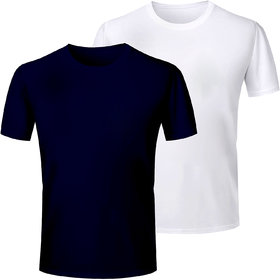 Half Sleeve Men's Navy and White Round Neck Combo T-Shirt