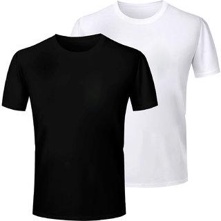Half Sleeve Men's Black and White Round Neck Combo T-Shirt