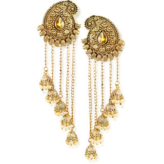Zaveri Pearls Tassels With Dome-Shaped Jhumki Drops Earring-ZPFK6407