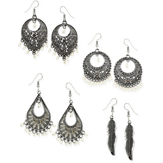 792eda18068 Buy Zaveri Pearls Combo of 4 Dark Antique Silver Earrings-ZPFK6487 ...