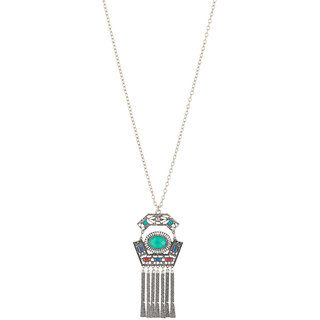 JewelMaze Hanging Chain Resin Stone Rhodium Boho Necklace