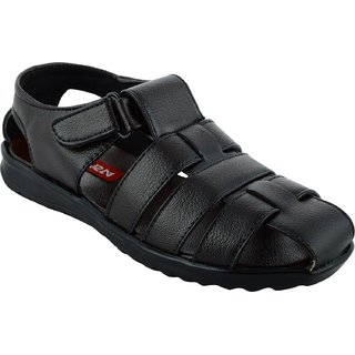 Lavista Black Synthetic Leather Buckle Sandals For Men