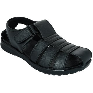 Lavista Men's Black Synthetic Leather Casual Sandal