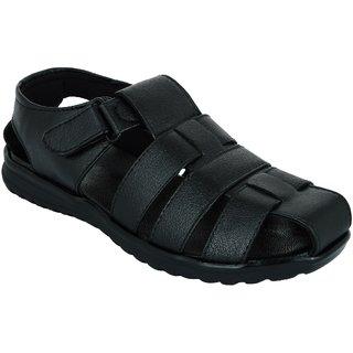 Lavista Men's Black Synthetic Leather Casual Sandal