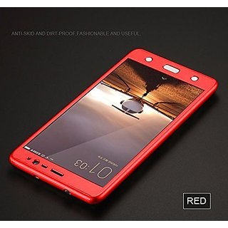 Mobimon 360 Degree Full Body Protection Front  Back Cover (ipaky style) with Tempered Glass for Moto E3 Power (Red)