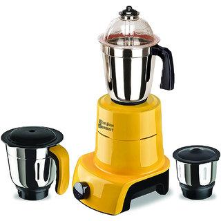 SilentPowerSunmeet Yellow Color 800Watts Mixer Juicer Grinder with 3 Jar (1 Large Jar 1 Medium Jar and 1 Chuntey Jar)