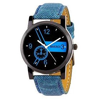 Gen-Z Round Dail Blue Fabric And Leather StrapMens Quartz Watch For Men