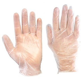 Marketvariations Food Service Hand Protective Plastic Disposable Gloves Clear 200 Pcs