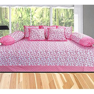 HomeStore Cotton Diwan Set of 8 Pcs - 1 Bedsheet, 5 Coushion Covers , 2 Bolster Covers