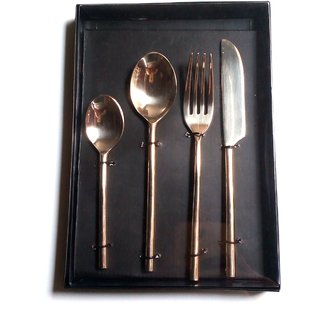 The Besteck Set of 4 Pieces Solid Brass Cutlery Set, Deesert Spoon, Tea spoon, Knives and Dessert Fork.