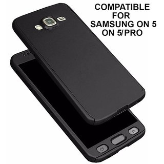 MOBIMON 360 Degree Full Body Protection Front Back Case Cover (iPaky Style) with Tempered Glass for Samsung ON5 - BLACK
