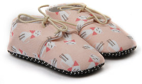 Pikaboo Kitty Print lace Shoes For Girl (0-6 Months)