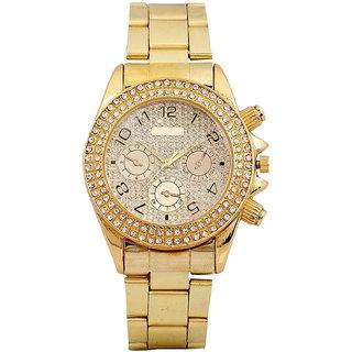 NEW BRAND PAIDU Stone Studded golden Theme Wrist Watch For Men.