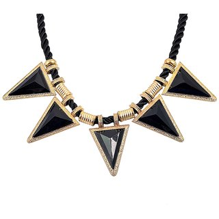 DIOVANNI Triangle Of Love Black and Gold color Statement Necklace for Womens