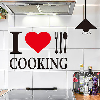 Home Berry I Love Cooking For Kitchen Decor Wall Sticker(PVC, 37 cm X 62 cm, Multi color, No of Pieces 1)