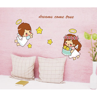 Home Berry Cute Baby Cartoon Angels Wall Stickers(PVC, 45 cm x 45 cm, Multi color, No. of pieces 1)