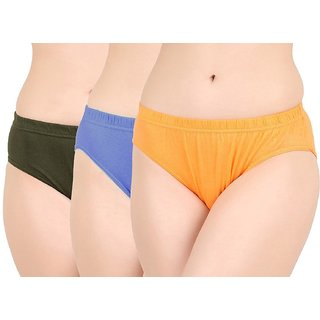 JIL Delux Multicolor Plain Women Panties - Set of 3 Premium Cotton Bikini Panty ( Color May Vary )