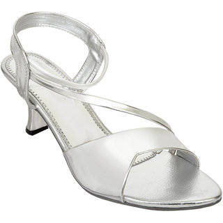 Altek Stylish Silver Patent Heel For Women (foot-A13209-silver-p210)