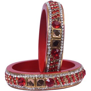 Sukriti Rajasthan Style Traditional Kundan Red Lac Kada Bangles for Women - Set of 2