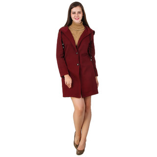 Texco Maroon Solid Over coat