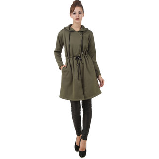 Texco Olive,Green Self Design Over coat