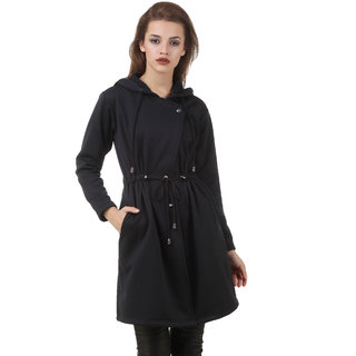 Texco Black Self Design Over coat