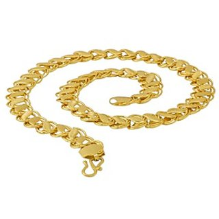 Wheat Designer Chain For Men In Yellow Gold