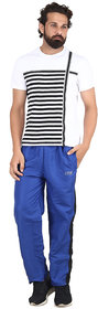Akaas Men's Black and Blue Strip Trackpant