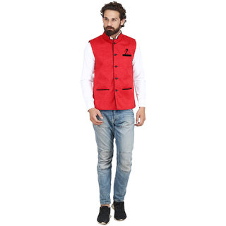 Akaas Men's Red Solid Jackets