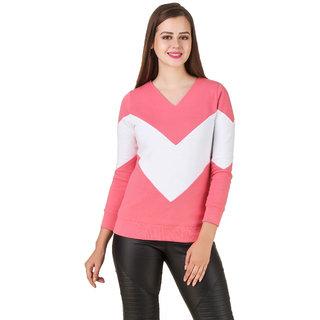 Texco Pink,White Non Hooded Sweatshirt for Women