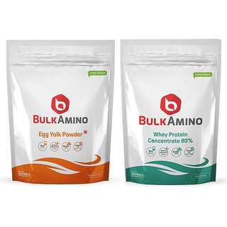 Advance Nutratech Combo of Bulkamino Whey Protein Concentrate 80 Raw protein 1 Kg +egg yolk 500gm
