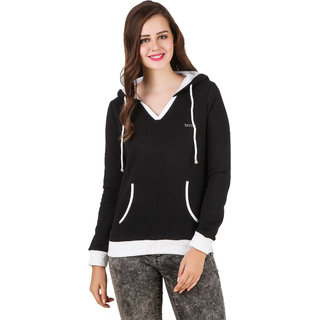 Texco Black White Non Hooded Sweatshirt for Women