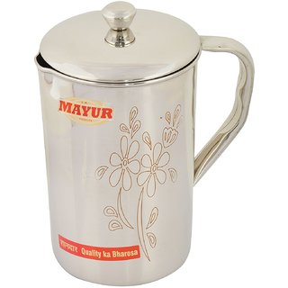 Mayur Stainless Steel Jug, 2 Liters, Silver