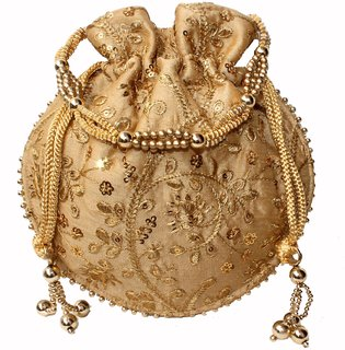 Milans creation  goldenDesigner Embroidered Silk Potli Bag Pearl Handle Purse Wedding Womens Handbag With Drawstring Cl