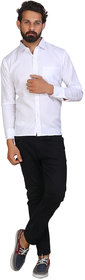 Akaas Men's White Solid Button down Slim Fit Formal Shirt