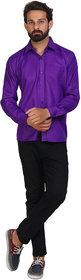 Akaas Men's Purple Solid Button down Slim Fit Formal Shirt