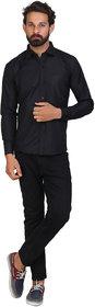 Akaas Men's Black Solid Button down Slim Fit Formal Shirt