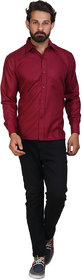Akaas Men's Maroon Solid Button down Slim Fit Formal Shirt