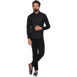 Akaas Mens Black Solid Button down Slim Fit Formal Shirt